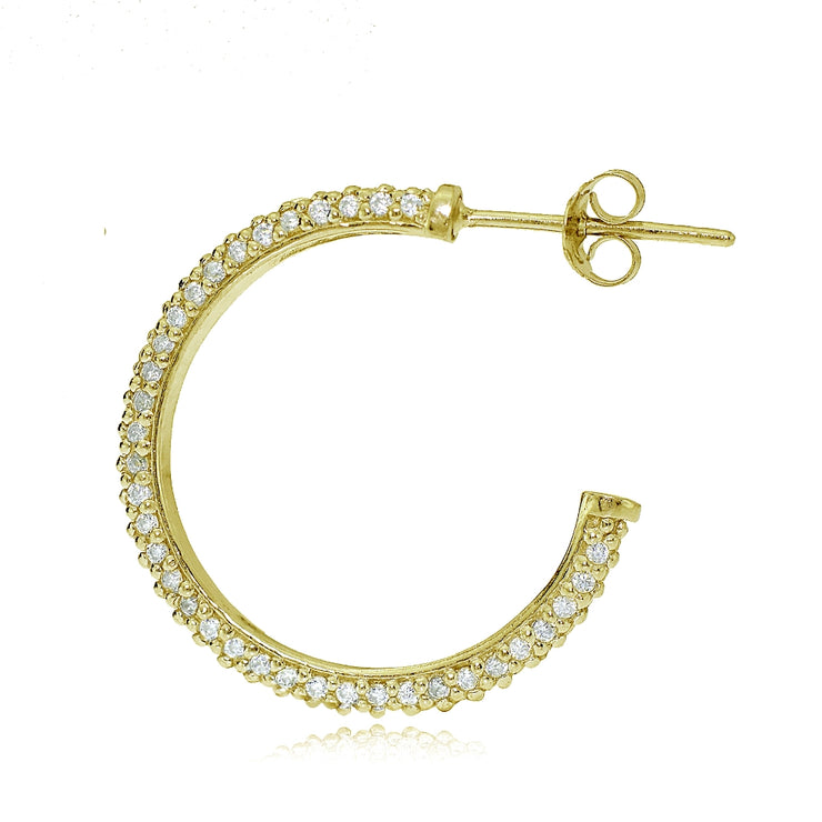Gold Tone over Sterling Silver Cubic Zirconia Half Round Hoop Earrings
