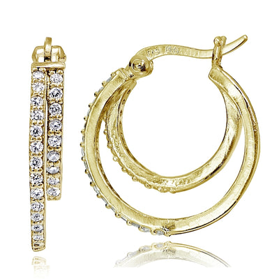 Gold Tone over Sterling Silver Cubic Zirconia Double Circle Round Hoop Earrings, 20mm