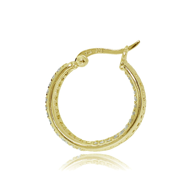 Gold Tone over Sterling Silver Cubic Zirconia Inside-Out Fashion Huggie Hoop Earrings