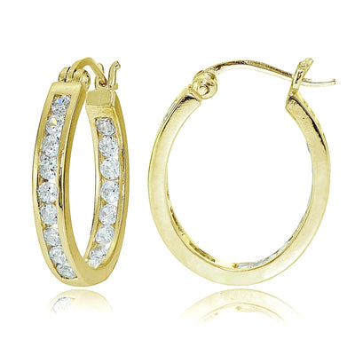 Gold Tone over Sterling Silver Cubic Zirconia Channel Set Inside-Out Oval Hoop Earrings