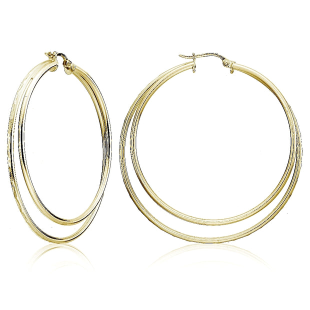 Yellow Gold Flashed Sterling Silver Double Circle Square-Tube Diamond Cut 45mm Round Hoop Earrings