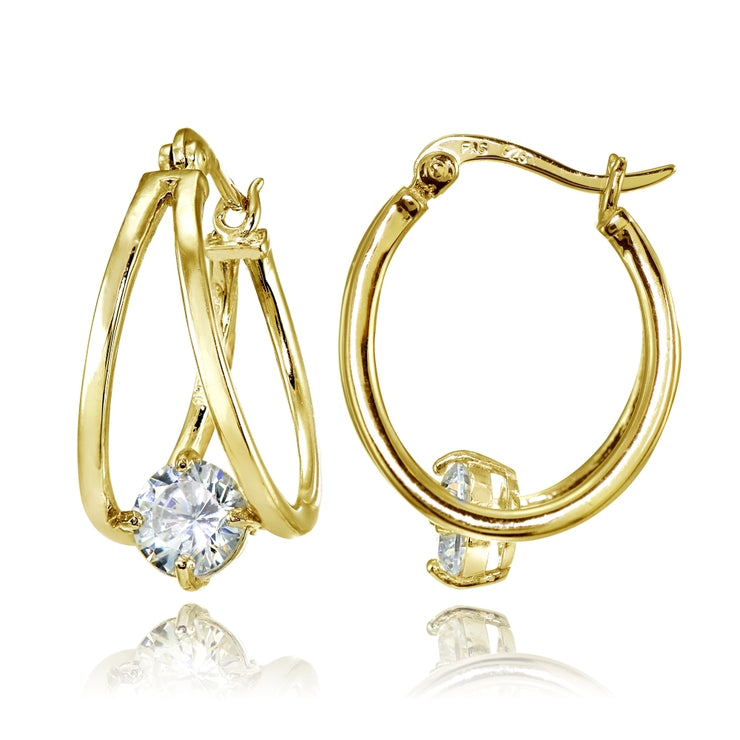 Yellow Gold Flashed Sterling Silver Oval Double Hoop Cubic Zirconia Earrings