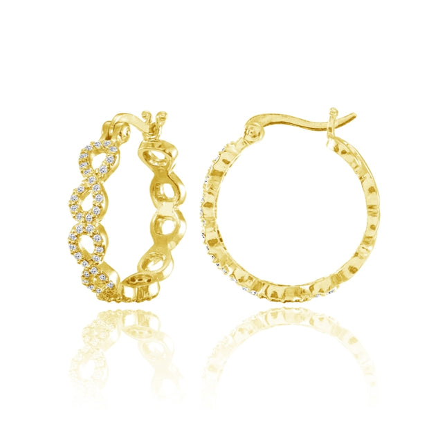 Yellow Gold Flashed Sterling Silver Cubic Zirconia Continuous Infinity Hoop Earrings
