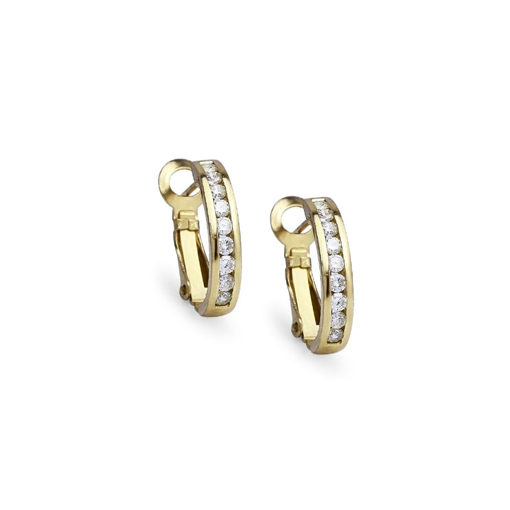 Yellow Gold Flashed Sterling Silver Cubic Zirconia 18mm Clutchless Channel Set Oval Half Hoop Earrings