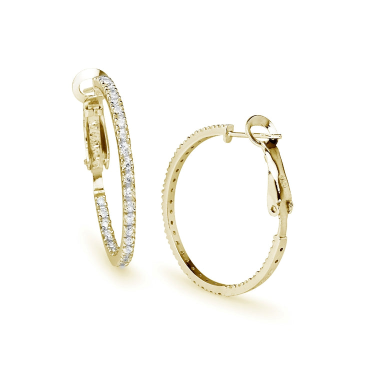 Yellow Gold Flashed Sterling Silver Cubic Zirconia Inside Out 2x30mm Clutchless Round Hoop Earrings