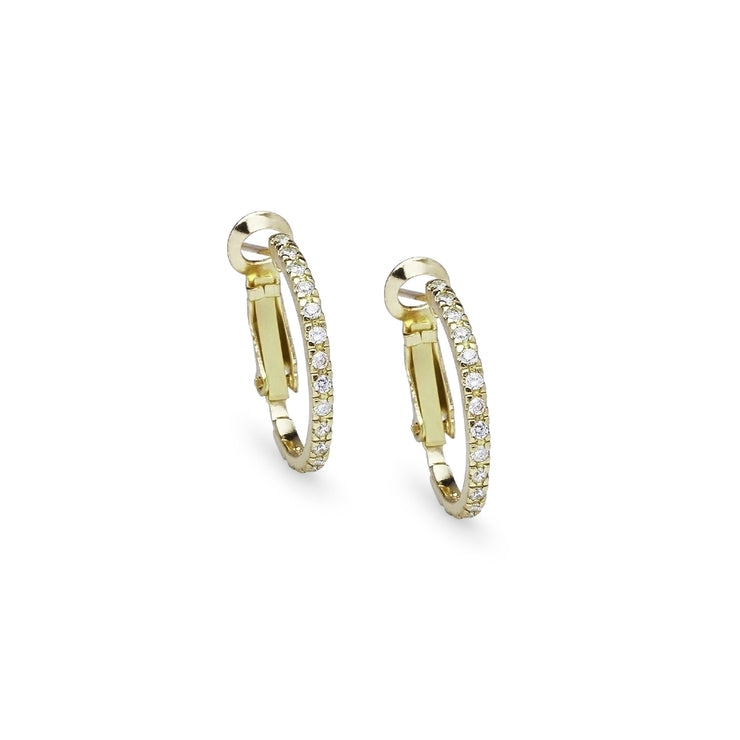Yellow Gold Flashed Sterling Silver Cubic Zirconia Inside Out 2x20mm Clutchless Half-Oval Hoop Earrings