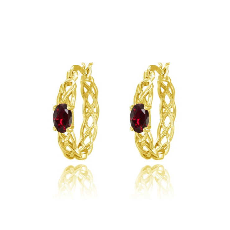 Yellow Gold Flashed Sterling Silver Created Ruby Celtic Knot Round Hoop Earrings