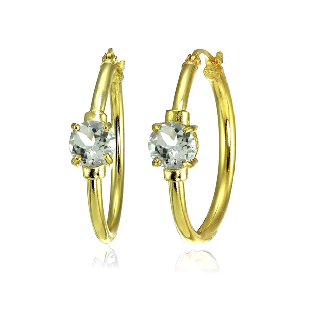Yellow Gold Flashed Sterling Silver Aquamarine Solitaire 25mm Hoop Earrings