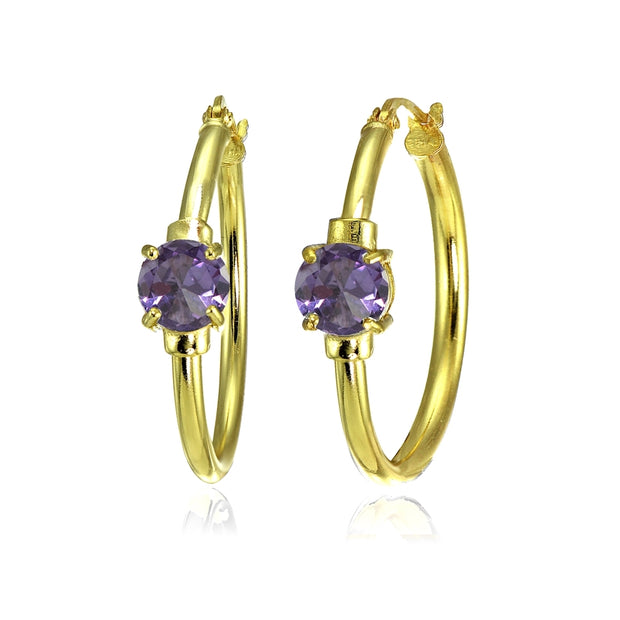 Yellow Gold Flashed Sterling Silver Created Alexandrite Solitaire 25mm Hoop Earrings