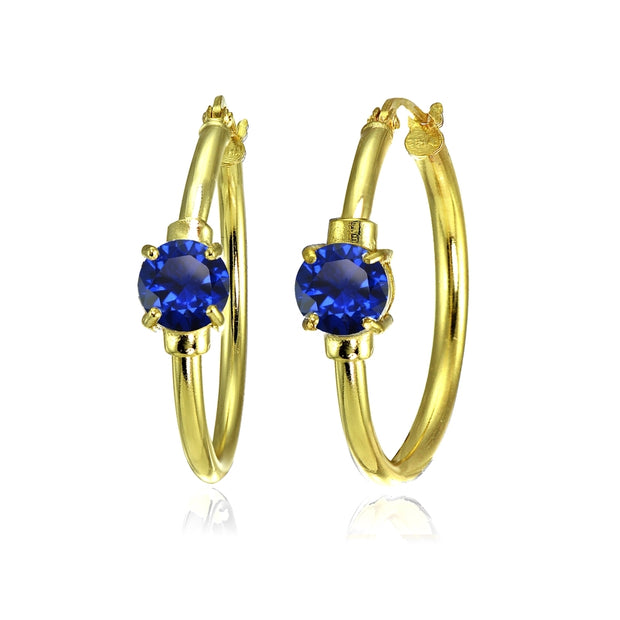 Yellow Gold Flashed Sterling Silver Created Blue Sapphire Solitaire 25mm Hoop Earrings