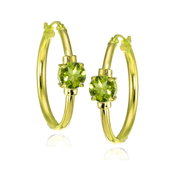 Yellow Gold Flashed Sterling Silver Peridot Solitaire 25mm Hoop Earrings