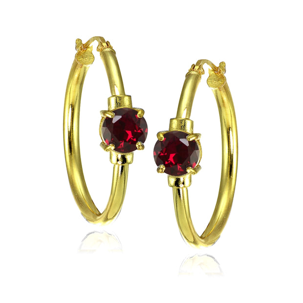 Yellow Gold Flashed Sterling Silver Created Ruby Solitaire 25mm Hoop Earrings