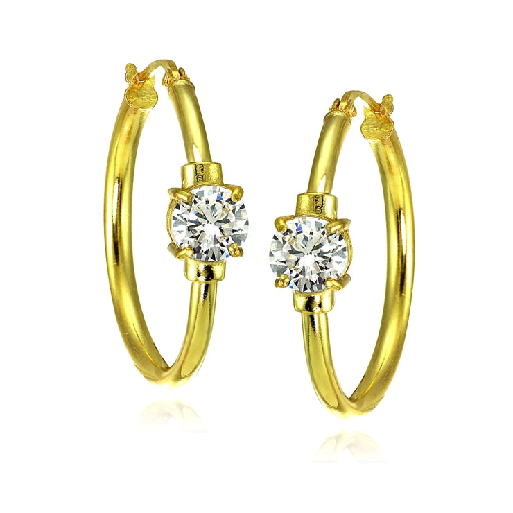 Yellow Gold Flashed Sterling Silver Cubic Zirconia Solitaire 25mm Hoop Earrings