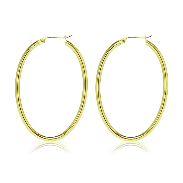 Gold Flashed Sterling Silver 2x40mm High Polished Oval Hoop Earrings