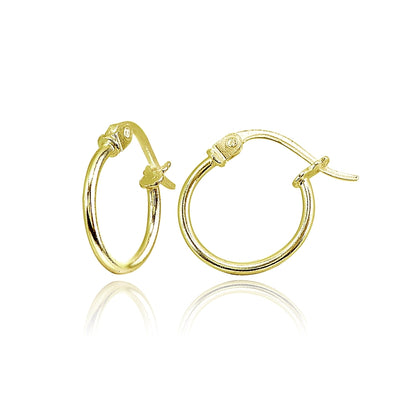 Yellow Gold Flashed Sterling Silver Tiny Small 12mm High Polished Round Thin Lightweight Unisex Hoop Earrings
