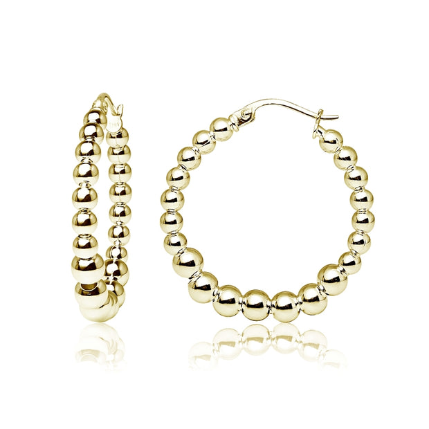 Yellow Gold Flashed Sterling Silver High Polished Graduated Beaded 20mm Hoop Earrings