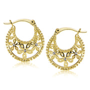 Yellow Gold Flashed Sterling Silver Polished Filigree Flower Hoop Earrings with CZ Accents