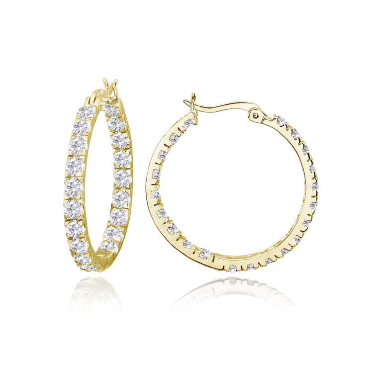 Yellow Gold Flashed Sterling Silver 3mm Cubic Zirconia Inside Out Round Hoop Earrings