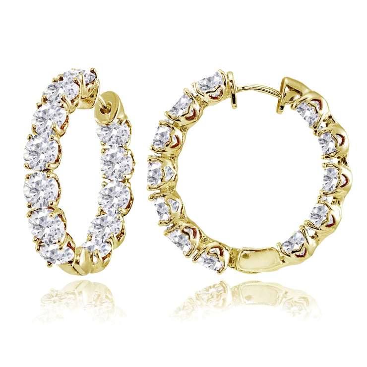 Yellow Gold Flashed Sterling Silver 5mm Cubic Zirconia Inside Out Round Small Hoop Earrings