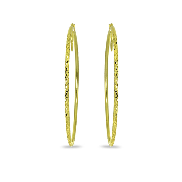 Gold Flash Sterling Silver 2x60mm Diamond-Cut Round Extra Large Hoop Earrings for Women Girls