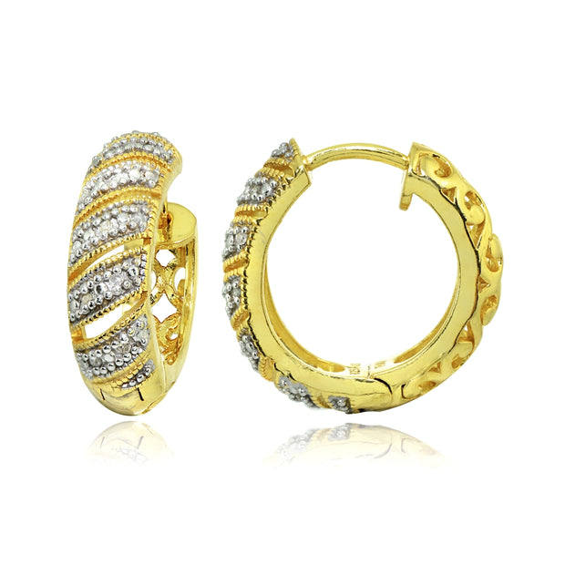 Yellow Gold Flashed Sterling Silver Polished Diamond Accent Round Click Top Huggie Hoop Earrings, JK-I3