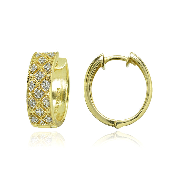 Yellow Gold Flashed Sterling Silver Polished Textured Diamond Accent Round Click Top Huggie Hoop Earrings, JK-I3