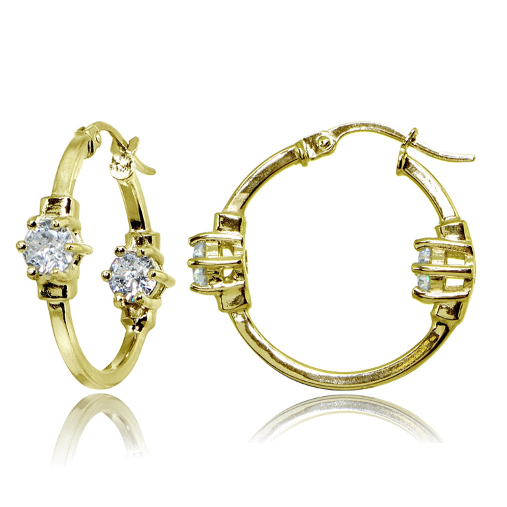 Yellow Gold Flashed Sterling Silver Polished Cubic Zirconia Round Two Stone Hoop Earrings