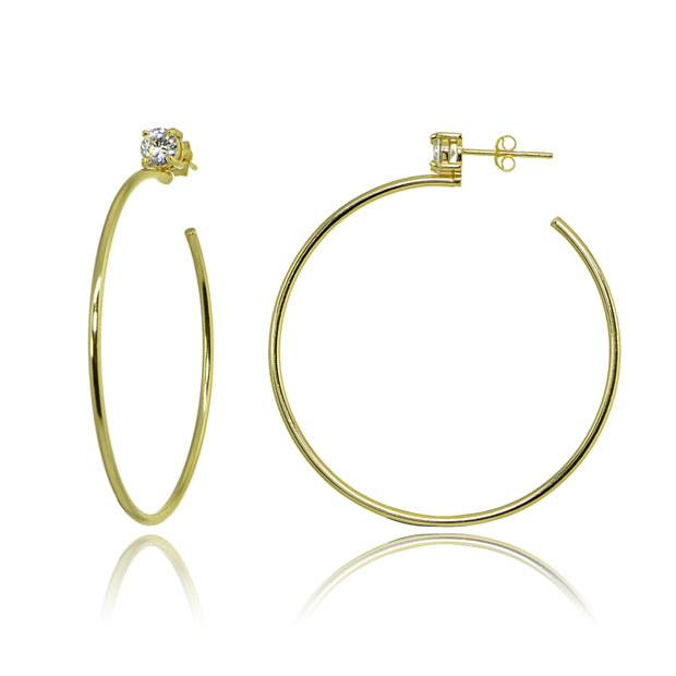 Yellow Gold Flashed Sterling Silver Polished Cubic Zirconia Round 45mm Open Hoop Earrings