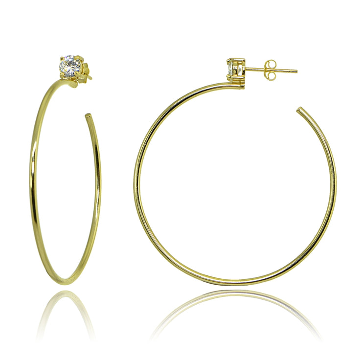 Yellow Gold Flashed Sterling Silver Polished Cubic Zirconia Round 50mm Open Hoop Earrings