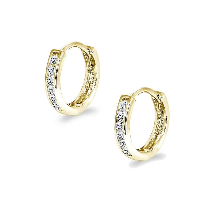 Gold Flash Sterling Silver Tiny Small 13mm Channel-set Cubic Zirconia Round Huggie Hoop Earrings