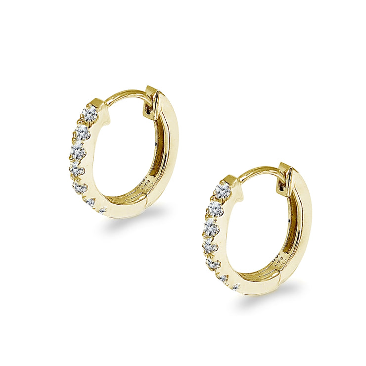 Gold Flash Sterling Silver Tiny Small 15mm Prong-set Cubic Zirconia Oval Huggie Hoop Earrings