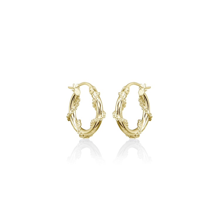 Yellow Gold Flashed Sterling Silver Chain Wrap Click-Top Hoop Earrings, 15mm