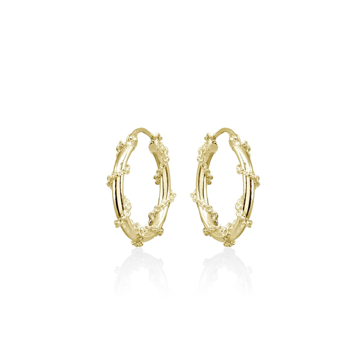 Yellow Gold Flashed Sterling Silver Chain Wrap Click-Top Hoop Earrings, 20mm