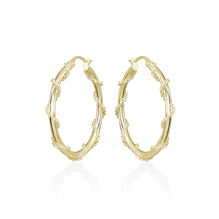 Yellow Gold Flashed Sterling Silver Chain Wrap Click-Top Hoop Earrings, 30mm