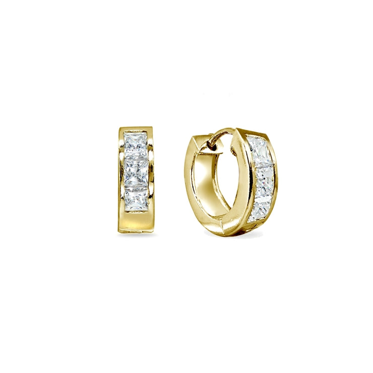 Gold Flash Sterling Silver Swarovski Zirconia Princess-Cut Set Oval Small Huggie Hoop Earrings