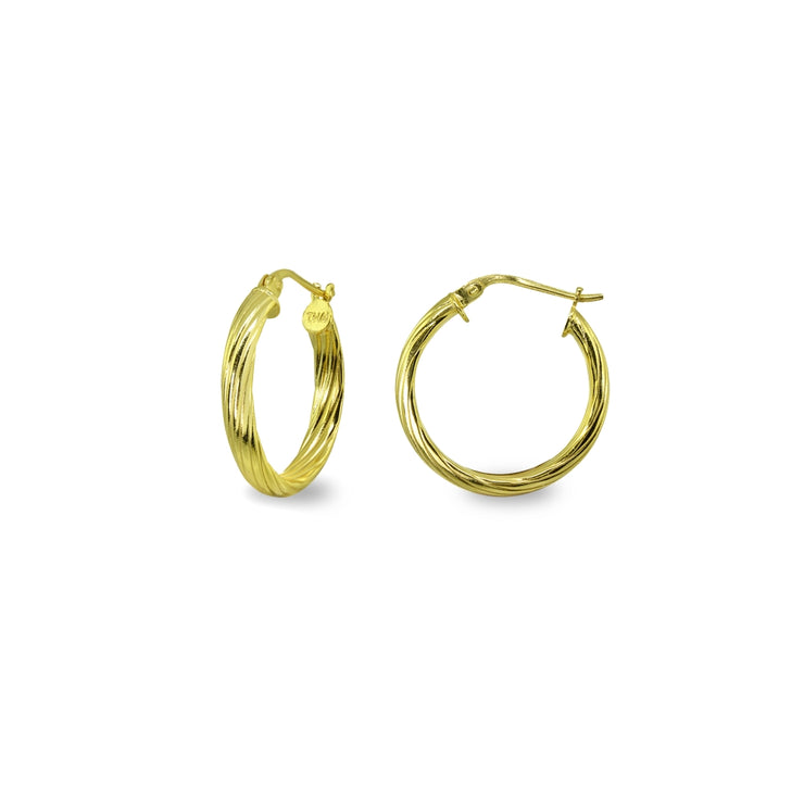 Yellow Gold Flashed Sterling Silver Polished 3x15mm Twist Half Round Click-Top Small Hoop Earrings