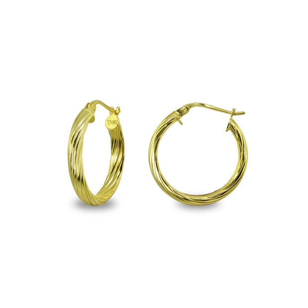 Yellow Gold Flashed Sterling Silver Polished 3x20mm Twist Half Round Click-Top Small Hoop Earrings
