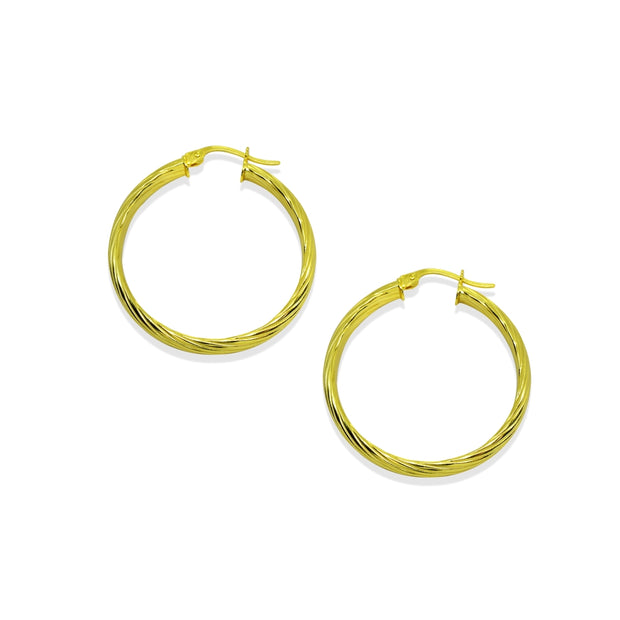 Yellow Gold Flashed Sterling Silver Polished 3x25mm Twist Half Round Click-Top Small Hoop Earrings