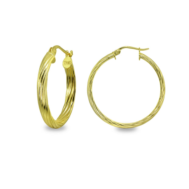 Yellow Gold Flashed Sterling Silver Polished 3x30mm Twist Half Round Click-Top Medium Hoop Earrings