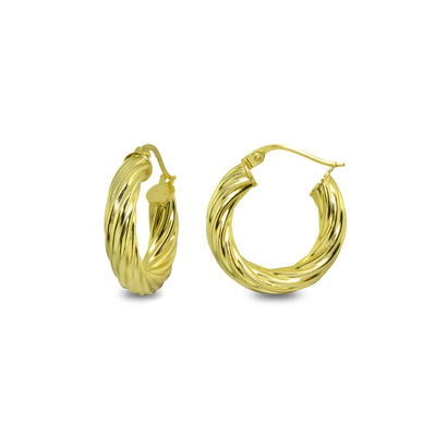 Yellow Gold Flashed Sterling Silver Polished 4x20mm Twist Round Click-Top Small Hoop Earrings