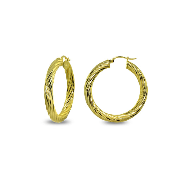 Yellow Gold Flashed Sterling Silver Polished 4x25mm Twist Round Click-Top Small Hoop Earrings