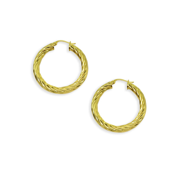 Yellow Gold Flashed Sterling Silver Polished 4x30mm Twist Round Click-Top Medium Hoop Earrings