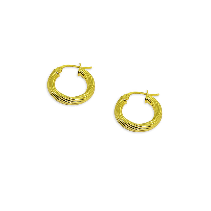Yellow Gold Flashed Sterling Silver Polished 3x15mm Twist Round Click-Top Small Hoop Earrings