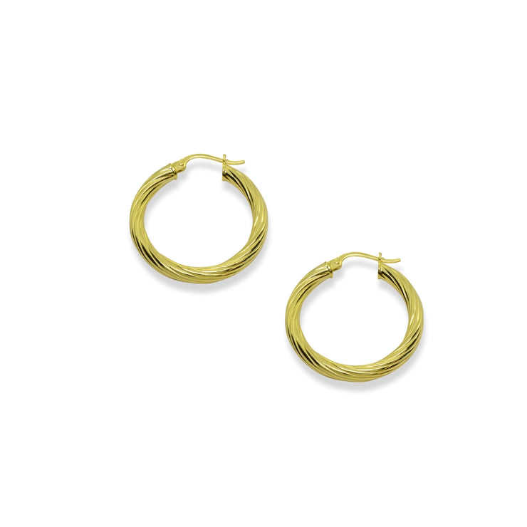 Yellow Gold Flashed Sterling Silver Polished 3x20mm Twist Round Click-Top Small Hoop Earrings