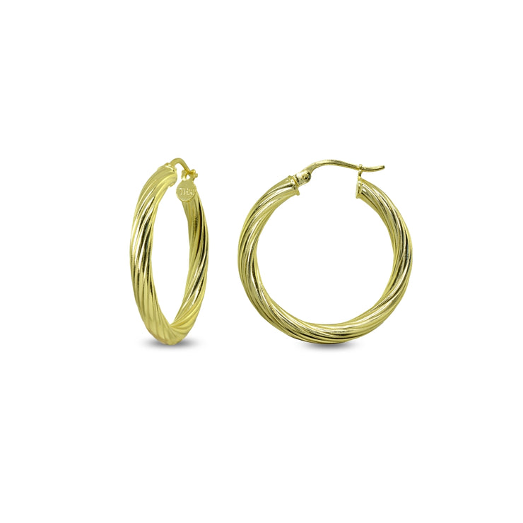 Yellow Gold Flashed Sterling Silver Polished 3x25mm Twist Round Click-Top Small Hoop Earrings