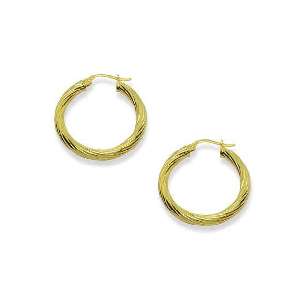 Yellow Gold Flashed Sterling Silver Polished 3x30mm Twist Round Click-Top Medium Hoop Earrings