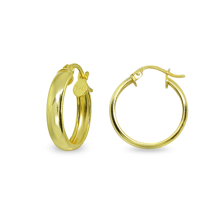 Yellow Gold Flashed Sterling Silver Polished 3x20mm Round Click-Top Small Hoop Earrings