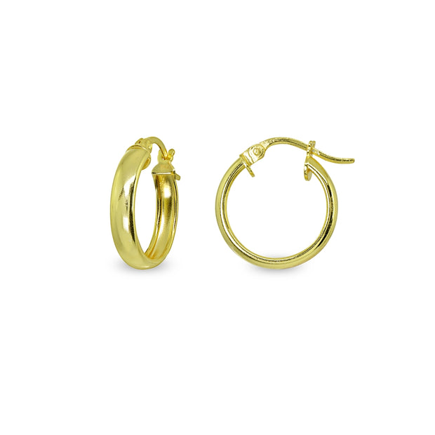 Yellow Gold Flashed Sterling Silver Polished 4x15mm Round Click-Top Small Hoop Earrings
