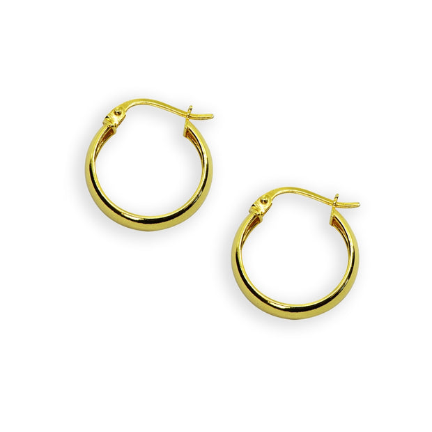 Yellow Gold Flashed Sterling Silver Polished 4x20mm Round Click-Top Small Hoop Earrings