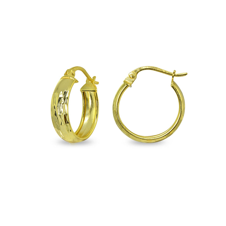 Yellow Gold Flashed Sterling Silver 4x15mm Diamond-Cut Round Click-Top Small Hoop Earrings